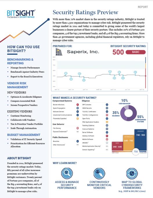 BitSight Security Ratings Snapshot Report Sample